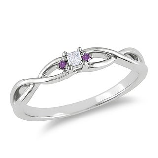 Miadora 10k White Gold Pink Diamond Accent Promise Ring