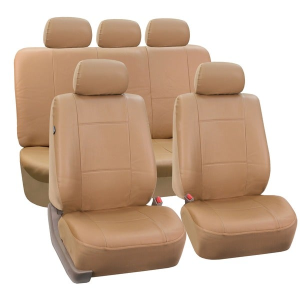 FH Group PU Leather Tan Airbag Compatible Car Seat Covers (Full Set)