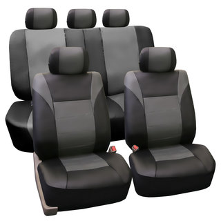 FH Group PU Leather Gray Airbag Compatible Racing Seat Covers Full Set