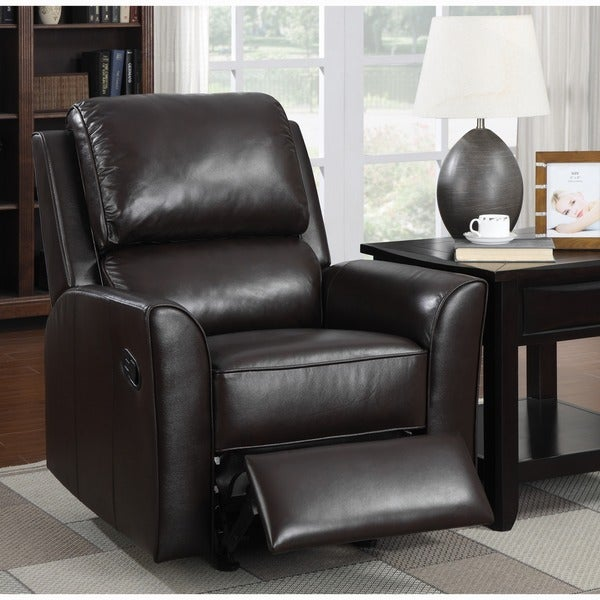 Shop Piper Brown Italian Leather Rocker Recliner Chair