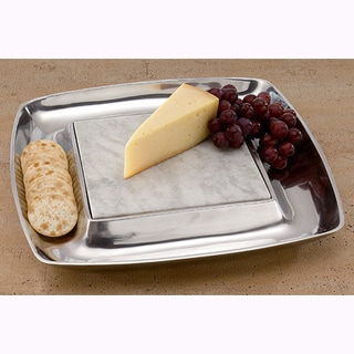 "15"" Square Aluminum Cheese Tray and Cracker Holder"