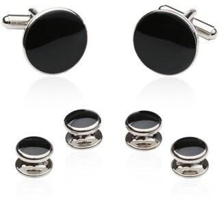 Black/ Silvertone Formal Cuff Link Set