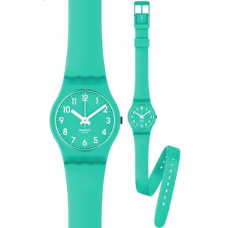 Swatch Women's Originals LL115 Green Rubber Quartz Watch with Green Dial