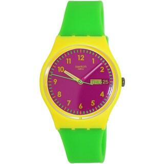 Swatch Women's Originals GJ701 Green Rubber Swiss Quartz Watch with Pink Dial