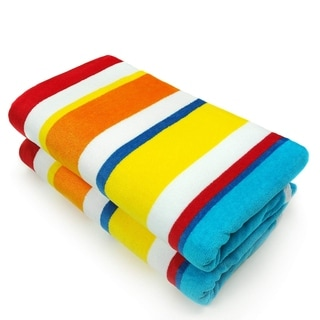 Joey Velour Multicolor Striped Beach Towel (Set of 2)