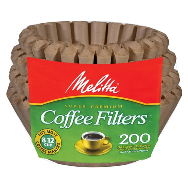 Melitta 62957 Natural Brown 8-12 Cup Paper Basket Coffee Filters- 200 Count