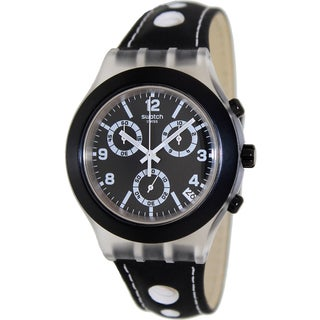 Swatch Men's Irony SVCK4072 Black Leather Swiss Quartz Watch with Black Dial