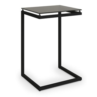 Ameriwood Home Modern Black Glass Top C Table
