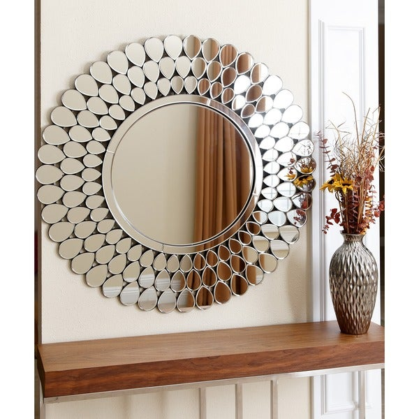 Abbyson radiance round wall mirror free shipping today for Big round decorative mirror