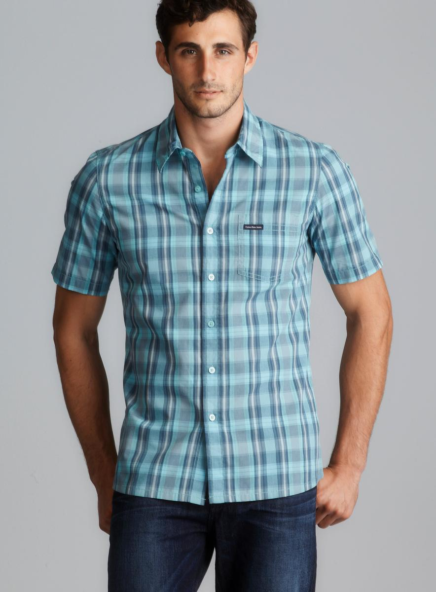CK Jeans Short Sleeve Blue Plaid Button Down Shirt - Free Shipping ...
