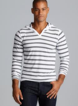 Threads 4 Thought Long Sleeve V-Neck Striped Hoodie
