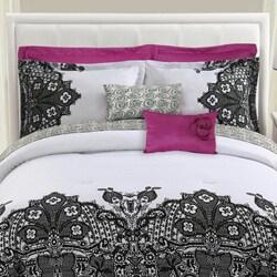 Shop Black White Lace Reversible 8 Piece Comforter Set