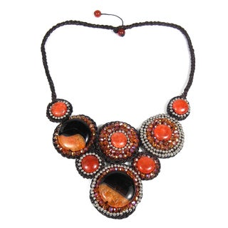Handmade Festive Mosaic Bubbles Orange Glow Agate Necklace (Thailand)