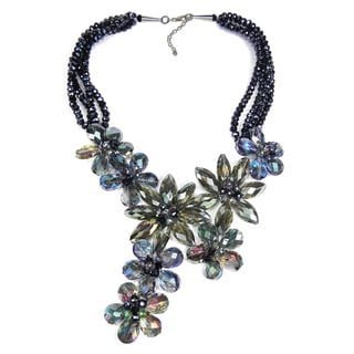 Exquisite Florals Dazzling Crystals Statement Necklace (Thailand)