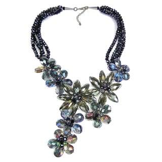 Handmade Exquisite Florals Dazzling Crystals Statement Necklace (Thailand)