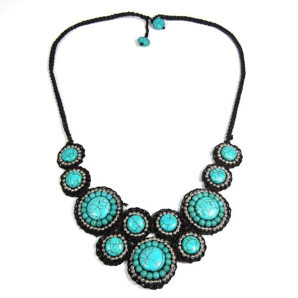 Mosaic Circles Turquoise Stone Unique Fashion Necklace (Thailand ...