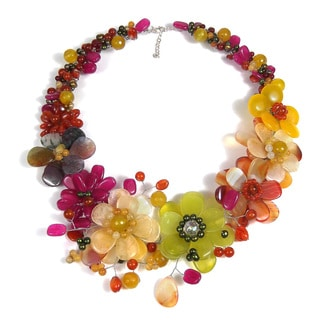 Colorful Blossoms Floral Garland Mix Stone Necklace (Thailand)