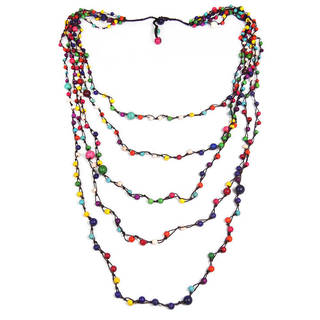 Handmade Mix Color Howlite Floating Bubbles Multi Layered Necklace (Thailand)