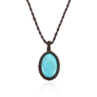 Charming Turquoise Stone Oval Nest Handmade Necklace (Thailand)