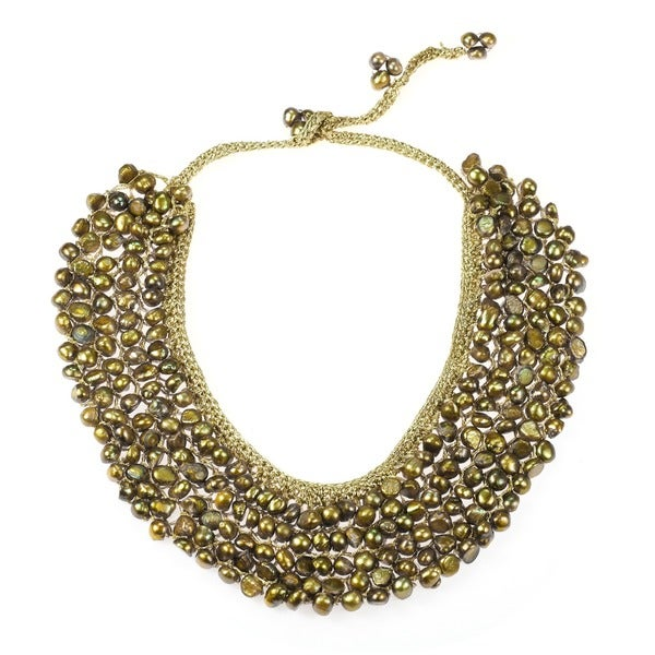 Freshwater Dyed Green Pearls Collar Bib Silk Net necklace (Thailand)