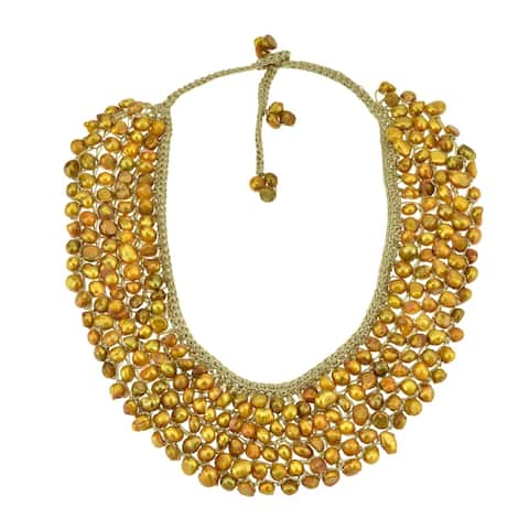 Handmade Freshwater Dyed Green Pearls Collar Bib Silk Net necklace (Thailand)
