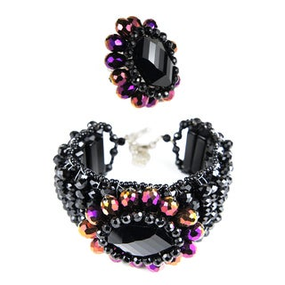 Handmade Exquisite Beauty Mix Color Crystals Bracelet and Ring Set (Thailand)