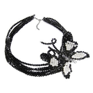 Dazzling Butterfly Grace Pearl and Crystal Necklace (Thailand)