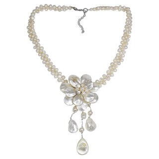 Handmade Lotus Rain Mother of Pearl and Pearl Floral Necklace (Thailand)