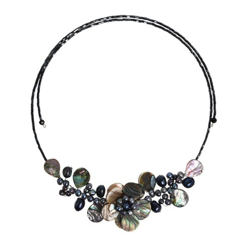 Handmade Lotus Wreath Abalone Shell Memory Wire Wrap Necklace - Black (Thailand)