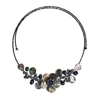 Lotus Wreath Abalone Shell Memory Wire Wrap Necklace (Thailand)
