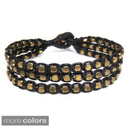 Blissful Strands Cubic Brass Cotton Waxed Rope Bracelet (Thailand)