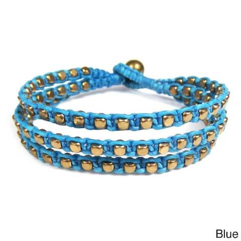 Handmade Brass Cotton Waxed Rope Bracelet (Thailand)