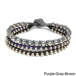 Trendy Colored Strands Silver Beads Jingle Bell Bracelet (Thailand)