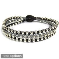 Handmade Trendy Colored Strands Silver Beads Jingle Bell Bracelet (Thailand)