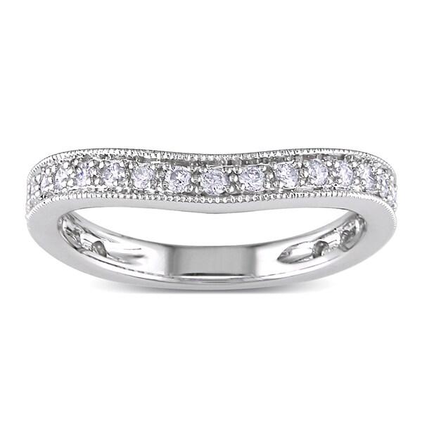 Miadora 14k White Gold 1/4ct TDW Curved Diamond Anniversary Ring (G-H, SI1-SI2)