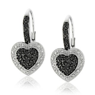Miadora Sterling Silver 1/4ct TDW Black Diamond Heart Earrings