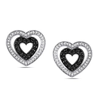Miadora Silver 1/2ct TDW Black and White Diamond Heart Earrings (H-I, I2-I3)