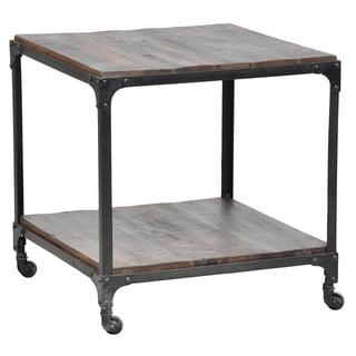 Kosas Home Larry Reclaimed Wood and Iron Side Table