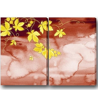 'Abstract Yellow Leaves' 2-piece Giclee Canvas Art