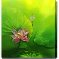 'Lotus Flower' Giclee with Oil Brush Canvas Art