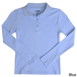 French Toast Girls Feminine Fit Long Sleeve Polo Shirt
