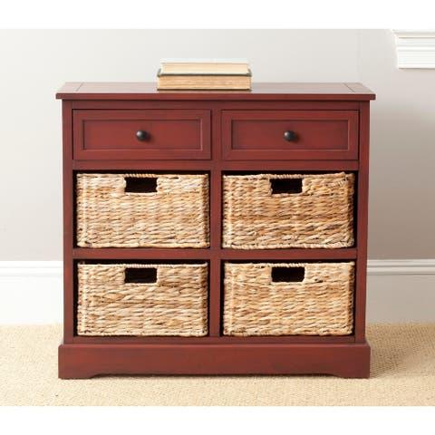 "Safavieh Herman Red 6-drawer Rattan Storage Unit - 29.9"" x 13"" x 27.6"""