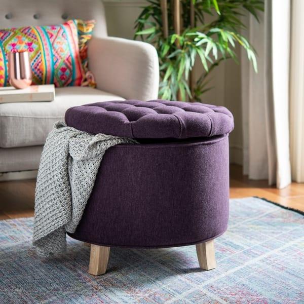 Enjoyable Shop Safavieh Amelia Plum Polyester Tufted Storage Ottoman Ncnpc Chair Design For Home Ncnpcorg