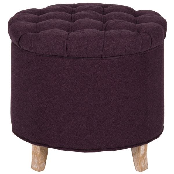 Peachy Shop Safavieh Amelia Plum Polyester Tufted Storage Ottoman Ncnpc Chair Design For Home Ncnpcorg