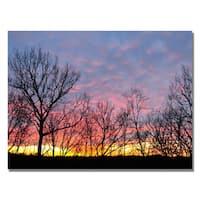 Kurt Shaffer 'Winter Sunset' Canvas Art - Multi