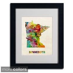 Michael Tompsett 'Minnesota Map' Framed Matted Art