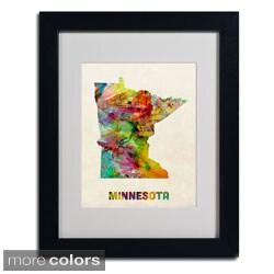 Michael Tompsett 'Minnesota Map' Framed Matted Art