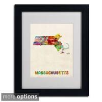 Michael Tompsett 'Massachusetts Map' Framed Matted Art
