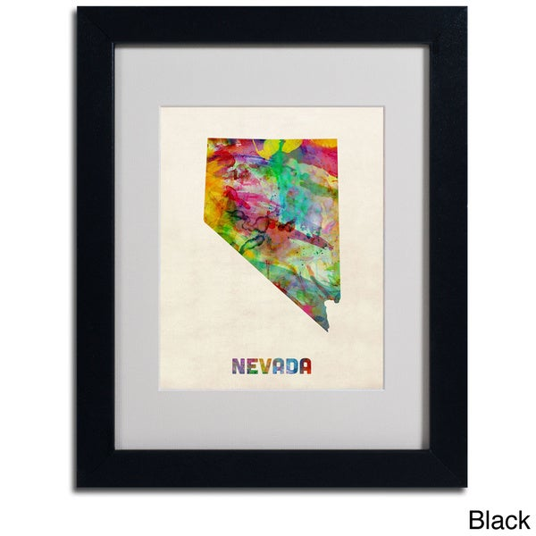 shop michael tompsett 39 nevada map 39 framed matted art on sale free shipping on orders over. Black Bedroom Furniture Sets. Home Design Ideas