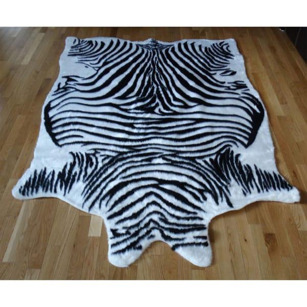 Zebra hide Black and White Acrylic Fur Rug - 5' x 7'